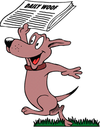 "Illistration, dog holding up ""Daily Woof"" newspaper"