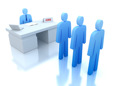 job candidates in line in front of a desk