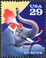 20-centr u.s. stamp with circus elephant