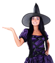 witch holding her right hand out