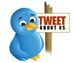 "twitter bird holding a ""Tweet About Us"" sign"