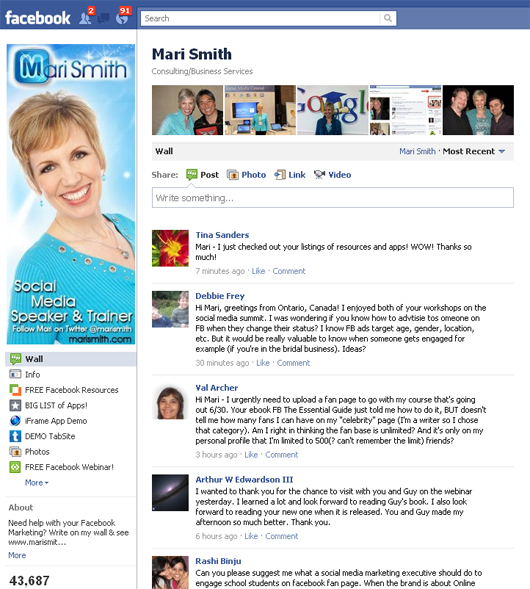 mari Smith's Facebook page