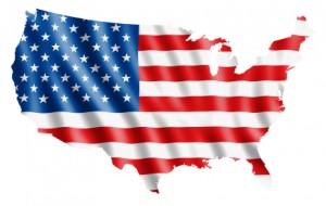 outline of u.s. with a flag imprint