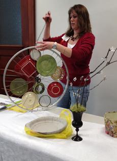 Jessie Gwidt demonstrates how to make garden art