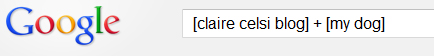 Google search for Clairre Celsi's dog's name