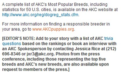 AKC press release screenshot