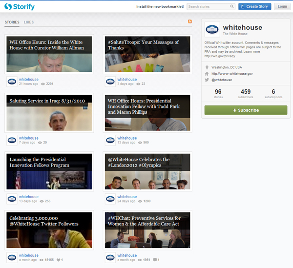Storify home page for the White House