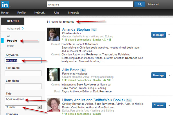 LinkedIn Advanced Search for book reviewers who review romance novels