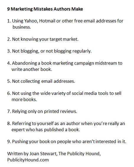 9 Marketing Mistakes Authors Make