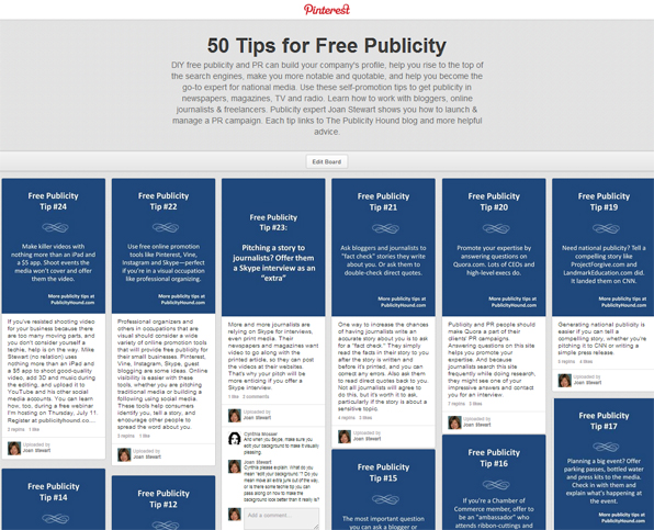 """50 Tips for Free Publicity"" board on Pinterest"