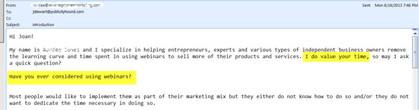 A bad pitch from a sebinar company that wants to sell me webinar services