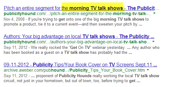 "Google search results for ""how to get on the morning tv talk shows"""