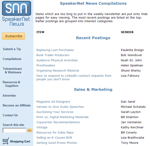 SpeakerNet News Compilations section at website