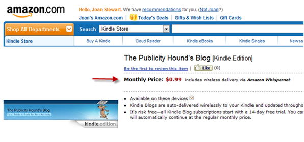Screenshot of The Publicity Hound's Blog for sale 9inj the Kindle Store