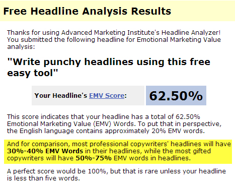 "results of free headline analysis tool for the hadline ""Write punchy headlines using this free, easy tool"""
