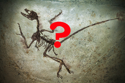 Dinosaur below a red question mark