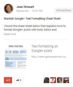 Wanted: Google Plus Cheat Sheet