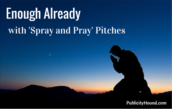 "Man praying against a blue night sky with the words ""Enough Already with 'Spray and Pray' Pitches"