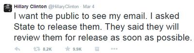 Hillary email tweet