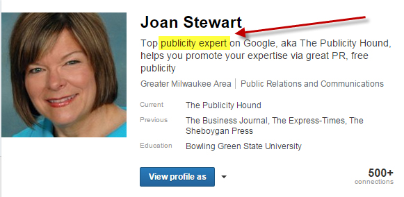 Pubolicity expert Joan Stewart's LinkedIn