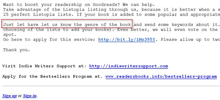 Scam email about Goodreads' Listopia