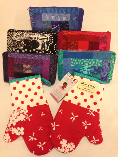 Batik make-up bags and ovenmitts